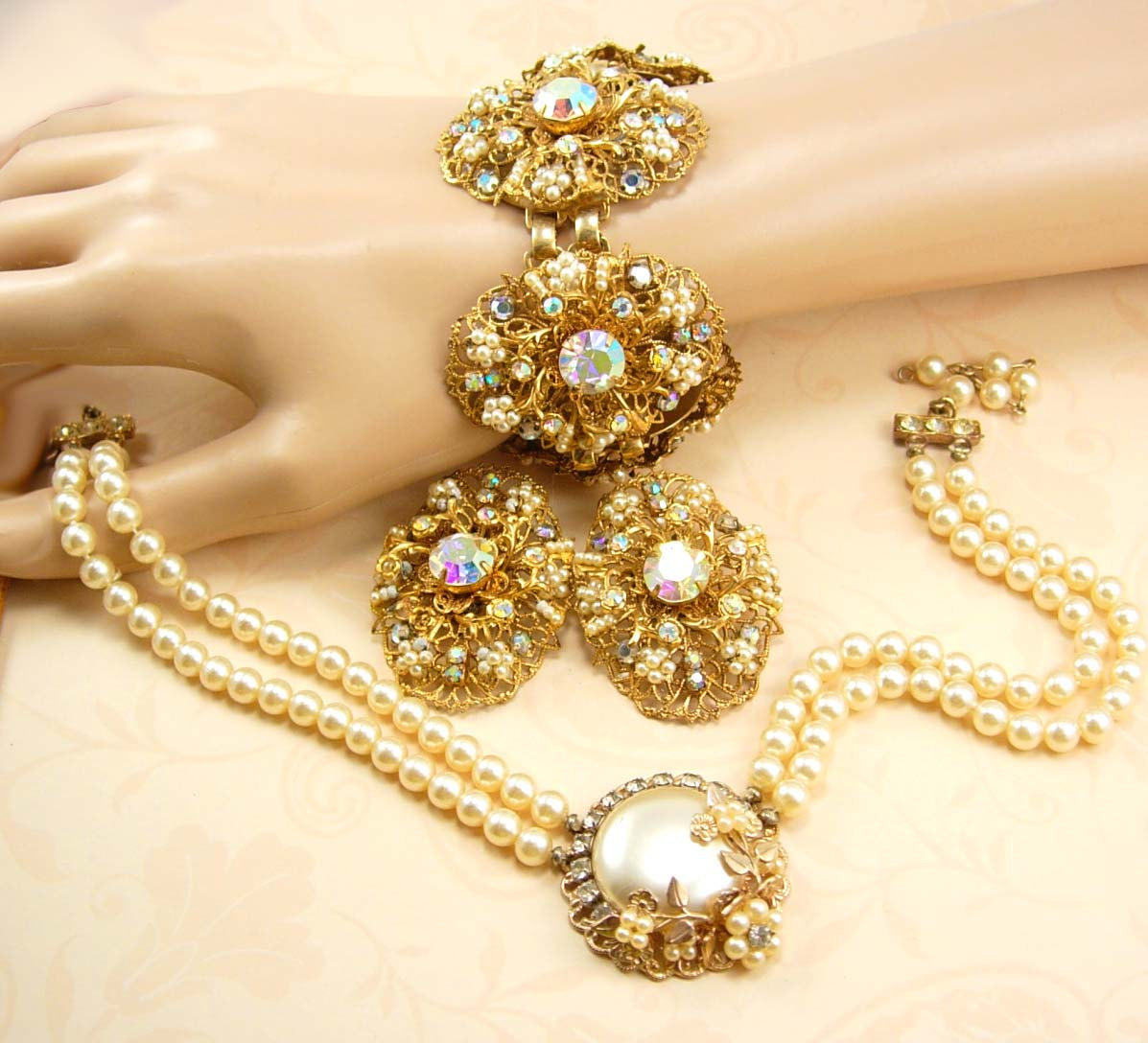 BIG Haskell style Parure Seed PEarl CLuster bracelet earrings necklace - $550.00