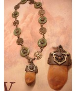 Antique Tooth necklace Bizarre Victorian  Chinese Jade  Very OLD - $475.00