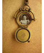 ANtique watch fob locket with little girl photo Flip fob ornate metal work - $110.00