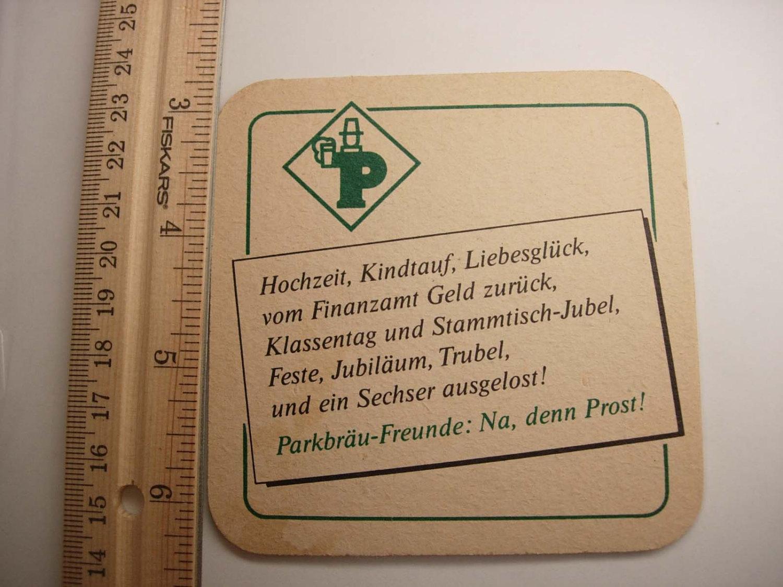 Parkbrau Pils Vintage Coaster Rheinland Germany Deustch