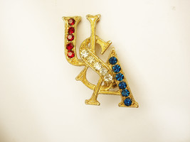 Vintage Destash Brooch Red White And Blue  rhinestone olympics Jeweled USA - $25.00