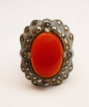Vintage Carnelian Marcasite Ring Art Deco Sterling Siver 4.9 Grams Size ... - $75.00