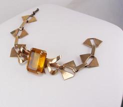 Emerald Cut Amber Topaz Rhinestone Bracelet Vintage Gold Filled Petite 6... - $50.00
