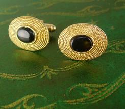Shields Vintage Gold Filled Black Glass Cufflinks Designer Ladies Sunhats Weddin - $65.00