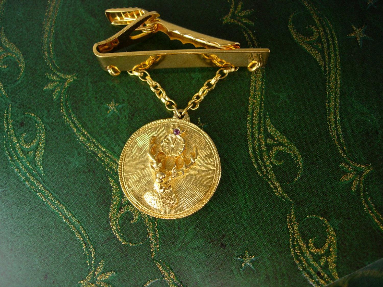 Elks Lodge Gold Filled Swag Chain Tie Clip Pendant BPOE  Wedding Valentines