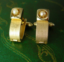 Vintage Pearl Buckle Cufflinks Frosted Gold Filled Dante Unique Ladies Wedding A - $55.00