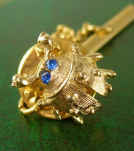 Scarab Lady Bug Blue Rhinestone Eyes Tie Tack Lapel Pin Beetle Gold Fill... - $70.00