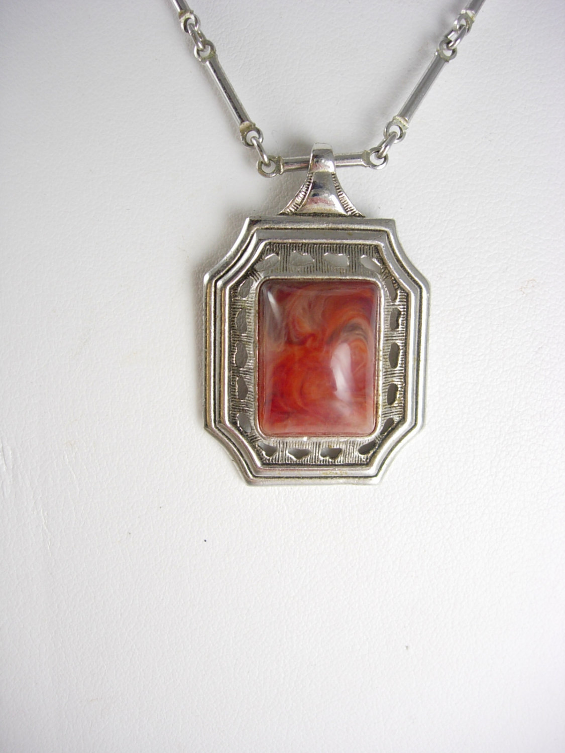 Primary image for Vintage Carnelian modernist necklace slag design sarah coventry