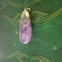 Large Irregular Amethyst Pendant Gold Filled Vintage Eggplant Wedding Bu... - $25.00