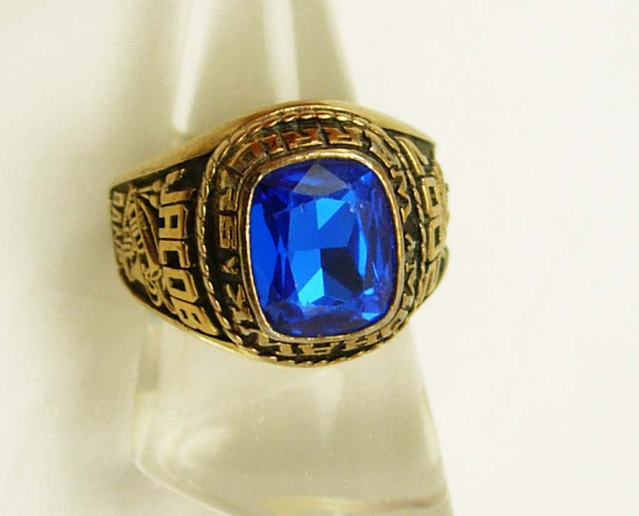 Primary image for Vintage Mohawk Class Ring Blue High School Warriors Sycamore Ohio Birthday Signe