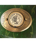 Wooden Nickel Bronze Belt Buckle Indian Head Vintage Business Birthday V... - $60.00