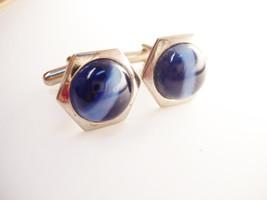 Banded Blue Vintage Cufflinks Art Deco Businessman Wedding - $40.00