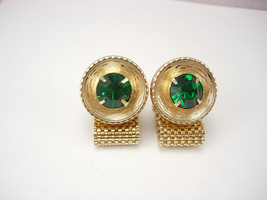 Vintage Green Wrap Mesh Cufflinks Rhinestone Golden Color Pulley Design ... - $55.00