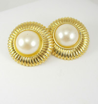 Vintage Goldtone Faux Pearl Earrings Large Button Pierced Fashion Weddin... - $35.00