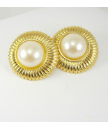 Vintage Goldtone Faux Pearl Earrings Large Button Pierced Fashion Weddin... - €29,41 EUR
