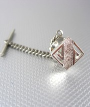Abstract Silver Frosted Tie Tack with Chain Vintage Wedding Anniversary ... - $35.00
