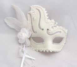Venetian Goddess Masquerade Mask  Macrame Lace & Diamonds & feather mk29 - $29.99