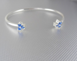 Vintage Blue Rhinestones Cuff Bracelet Silver Birthday Friendship Valent... - $55.00
