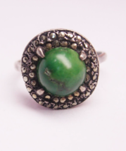 Vintage Sterling Silver Ring Talisman Malachite and Marcasite Ring Birth... - $60.00