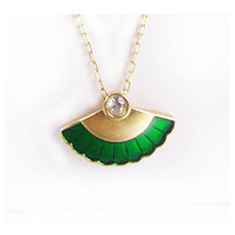 Oriental Enamel Fan Necklace Green and gold with rhinestone - $35.00