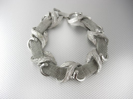 Vintage Silver Mesh Bracelet Fancy Wrap Design 7 1/2 Inches mother of the bride - $40.00