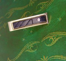BLack Tie Clip Enamel Vintage Hallmark W Westinghouse Gold Filled Rhines... - $35.00