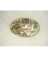 Huge  Belt Buckle Abalone Mosaic Mexican buckle Birthday mens accessory - $65.00