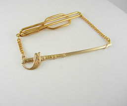 Rose Gold Filled Fencing Sword Tie Clip with  Swag Chain Vintage Deco Fr... - $80.00