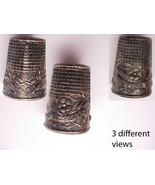 Vintage sterling ornate Religious Fatima thimble 14kt gold inside Virgin... - $75.00