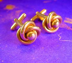 Vintage LOVE knot Cufflinks Wedding eternity set Gold filled - $65.00