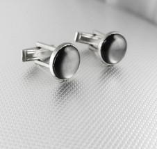 Vintage Grey Moonglow Silver Cufflinks Wedding Tuxedo Anniversary Valent... - $45.00