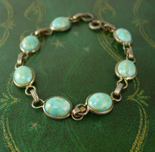 Vintage Turquoise Silver Bracelet  Ladies  7 1/2 Inches - $45.00
