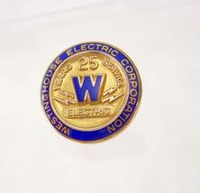 Vintage WestingHouse Electric Corp. Tie Tac pinback 25yr service blue en... - $85.00