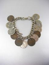 Vintage English Coins Charm Bracelet Silver Cuban Chain Elizabeth II Geo... - $75.00