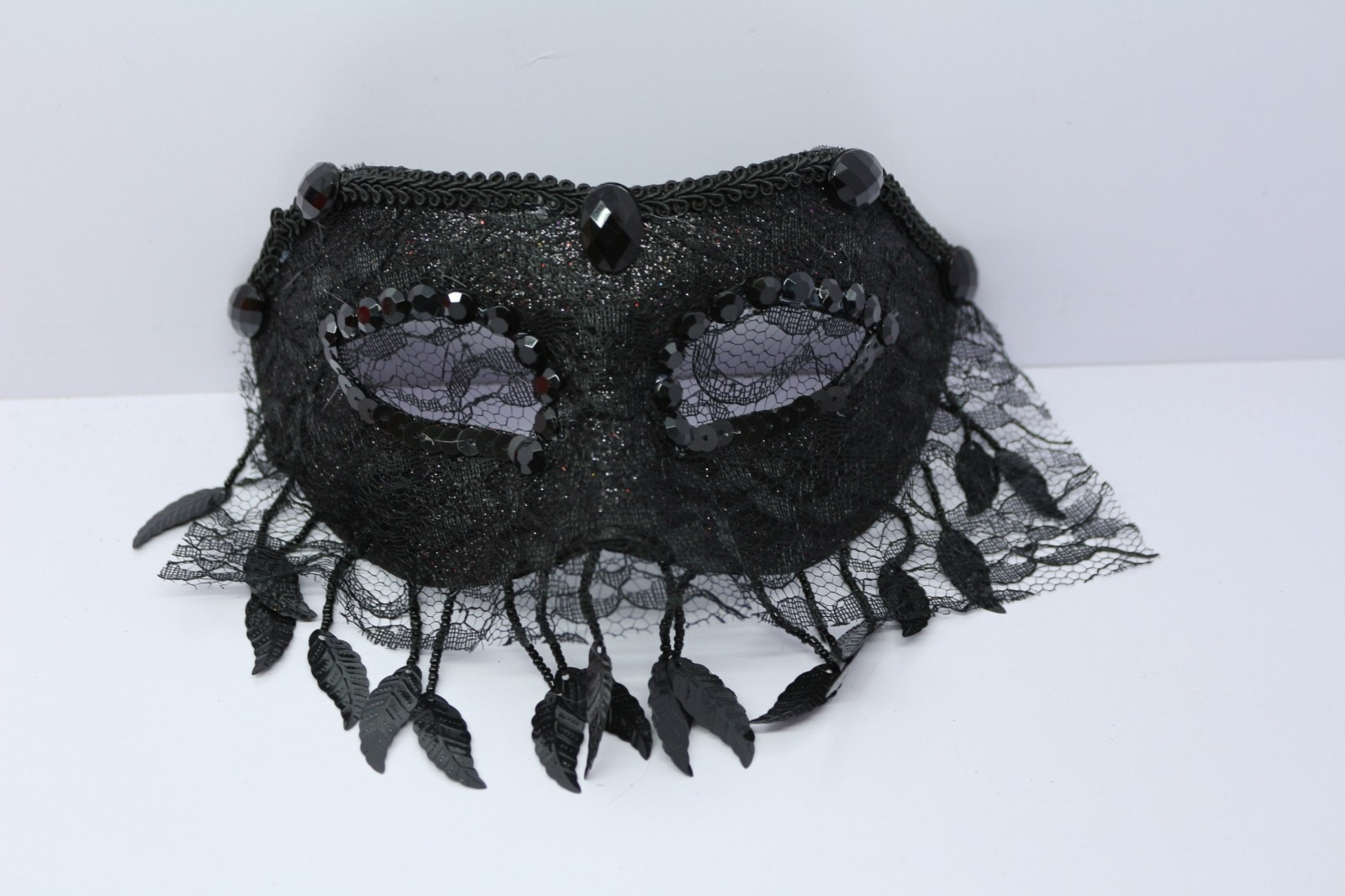 Venetian Goddess Masquerade Mask with High Fashion Macrame Lace & Diamonds mk33 - $22.00