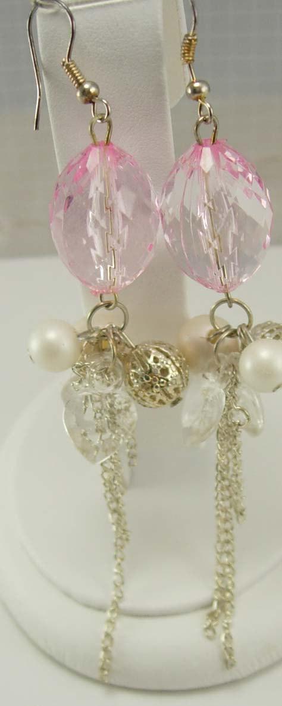 Vintage Pink Chandelier Earrings Drop Dangle Pierced Wedding High Fashion