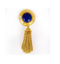 Large Vintage  brooch Monet heavy tassel  blue lapis - $55.00