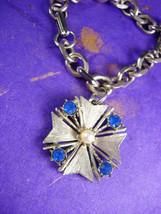 Vintage Charm bracelet Blue Rhinestone Maltese Cross Fob  Women's Wrist ... - $40.00