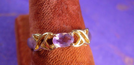 Vintage Lilac Amethyst Ring Gold sterling LOVE ... - $55.00