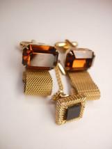 Vintage Golden faux Topaz Cufflinks Bonus Tie Tac Businessman Wedding Signed Dan - $55.00