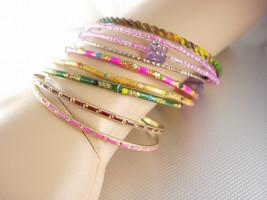9 Assorted Bangle Bracelets All Different Vintage Colorful Sweetheart Va... - $15.00