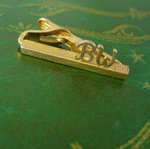 Petite Vintage Initial BW Tie Clip Swank Etched Gold Filled Birthday Wed... - $25.00