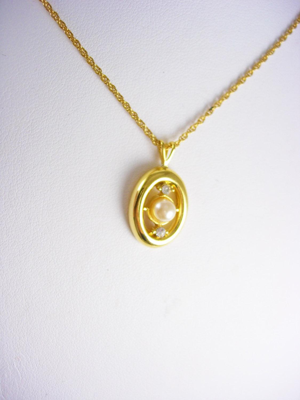 Vintage Pearl rhinestone pendant necklace wedding ...