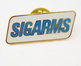 Vintage SigArms Enamel Tie Tack Lapel Pin White Blue Firearms SIG Sauer ... - $30.00