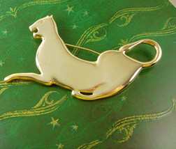 Gold Filled Panther Brooch Vintage Cat Large Birthday Anniversary Valent... - $35.00