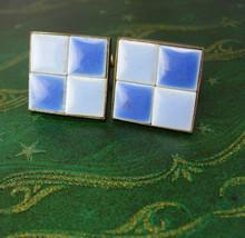 Mosaic Blue Tiles Cufflinks Vintage Brass Patent Birthday Industrial Val... - $45.00
