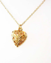 Victorian Design Heart Pendant Necklace Vintage Gold Tone 14 KT Sweethea... - $40.00