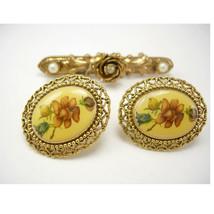 Vintage 1928 Fancy Flowers Earrings Brooch Victorian Style Faux Pearls W... - $35.00