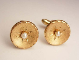Vintage Faux Pearl Cufflinks Starburst Art Deco Fancy Wedding Business - $35.00
