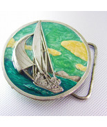 Sailboat Belt Buckle Vitrous Enamel Green White Bergamot Brass Works Z39... - $60.00